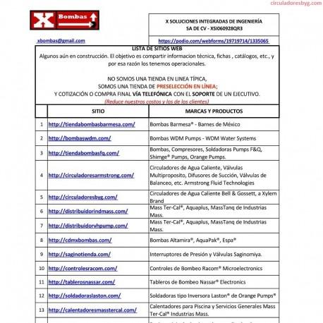 Lista de Sitios de Web X Bombas y X Soluciones Integradas de Ingeniería SA de CV, Distribuidor Mayorista de Circuladores Bell &
